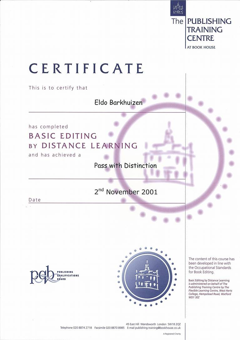 Copy-editing Certificate, Publishing Training Centre, London