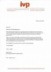 Copy-editing Testimonial, Inter-Varsity Press, 2000